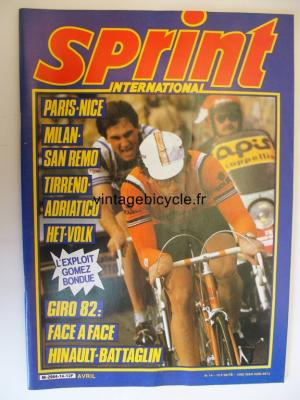 SPRINT INTERNATIONAL 1982 - 04 - N°14 avril 1982