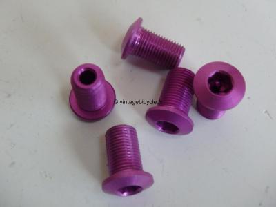 Set of Five (5) M8 Aluminum purple anodized Crank/Chain Ring long screw NOS