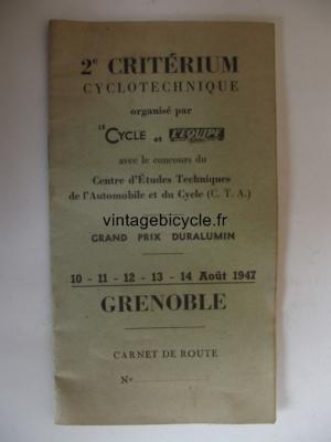 CARNET ROUTE (vierge) 2° CRITERIUM CYCLOTECHNIQUE GRENOBLE