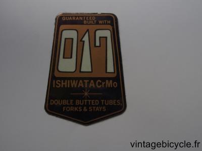 ISHIWATA 017 ORIGINAL Bicycle Frame Tubing STICKER NOS