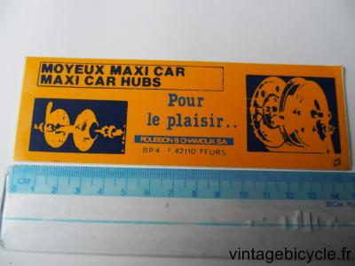 MAXI CAR HUBS STICKER NOS