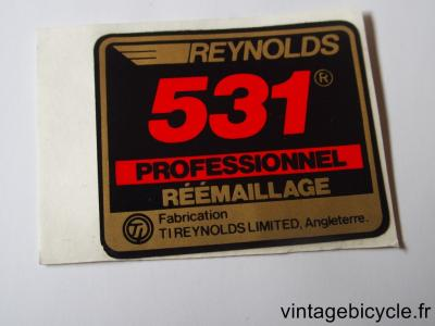 REYNOLDS 531 PROFESSIONNEL REEMAILLAGE ORIGINAL Tubes autocollants NOS
