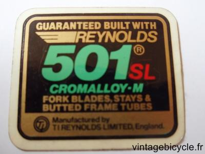 REYNOLDS 501 SL Bicycle Frame Tubing STICKER NOS