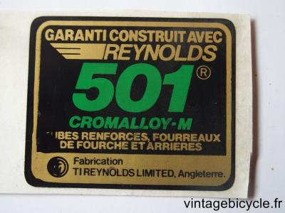 REYNOLDS 501 Bicycle Frame Tubing STICKER NOS
