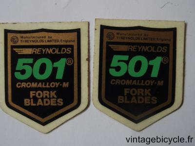 REYNOLDS 501 FORK BLADES ORIGINAL Bicycle Frame Tubing STICKER NOS (a pair)