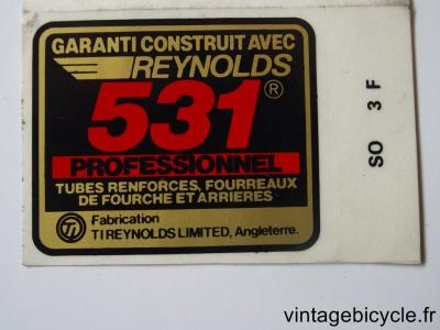 REYNOLDS 531 PROFESSIONNEL ORIGINAL Tubes autocollants NOS