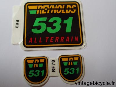 REYNOLDS 531 ALL TERRAIN ORIGINAL Tubes autocollants NOS