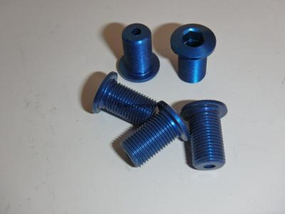 Set of Five (5) M8 Aluminum blue anodized Crank/Chain Ring long screw NOS