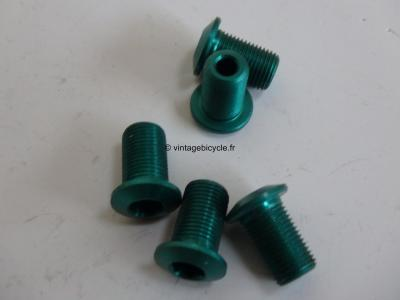 Set of Five (5) M8 Aluminum green anodized Crank/Chain Ring long screw NOS