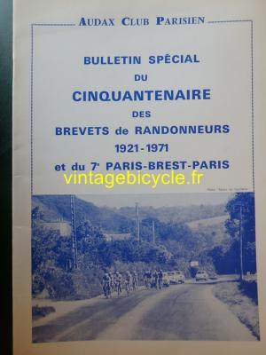 AUDAX CLUB PARISIEN - CINQUANTENAIRE BREVETS de RANDONNEURS