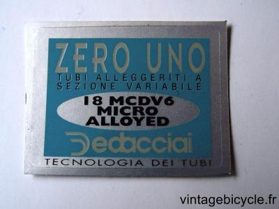 DEDACCIAI ZERO UNO ORIGINAL Bicycle Frame Tubing STICKER NOS