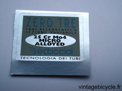 DEDACCIAI ZERO TRE ORIGINAL Bicycle Frame Tubing STICKER NOS
